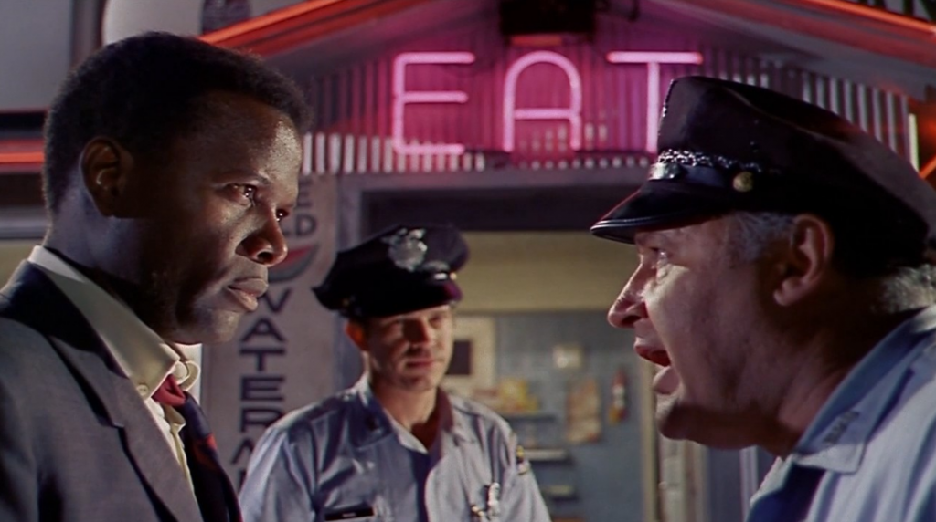 Sidney Poitier and Rod Steiger argue In The Heat of the Night