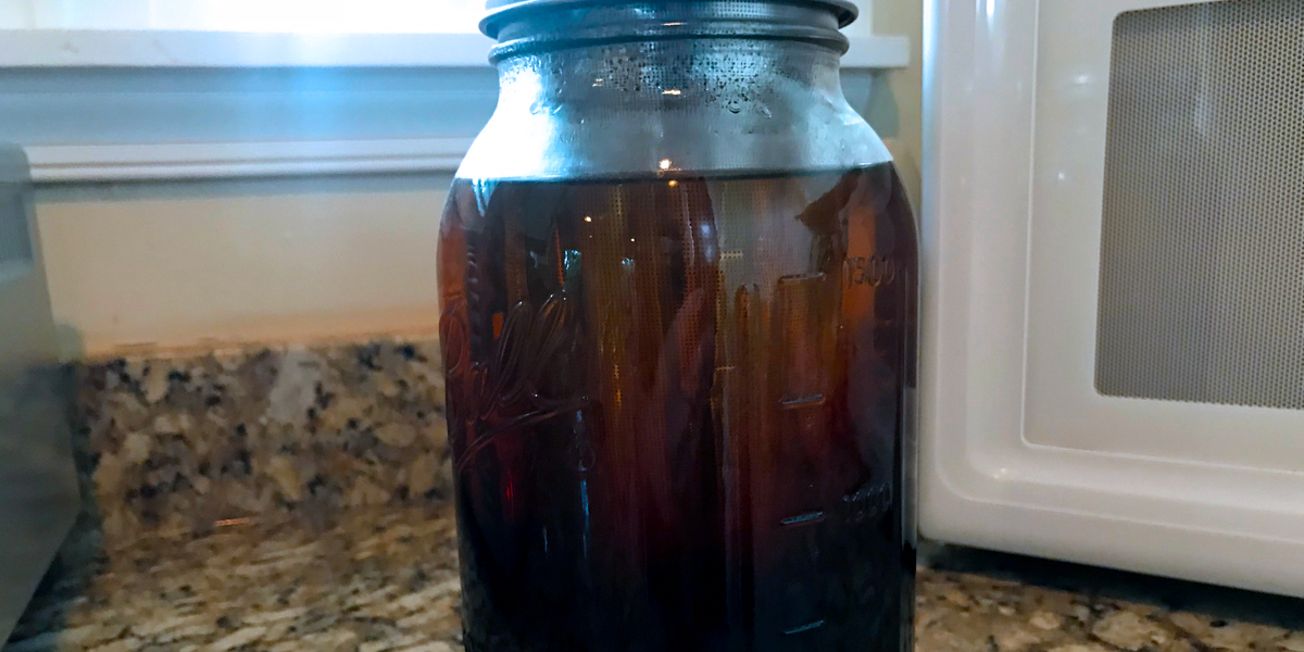Photo of cold brew coffee brewing